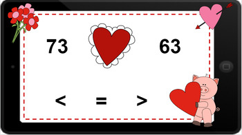 Google Classroom: Comparing 2 Digit Numbers- Valentine's Day