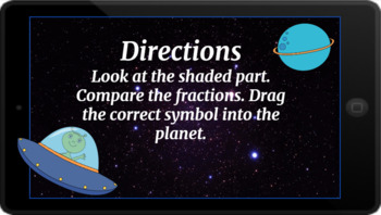 Google Classroom: Comparing Fractions (Pictures)- Space Theme