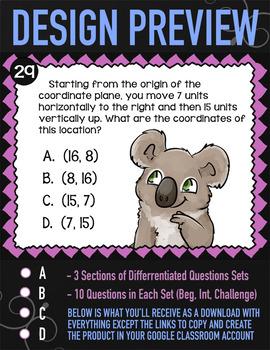 Google Classroom Coordinate Plane Task Cards (Digital) ★ 5th Grade Math ★ 5.G.1