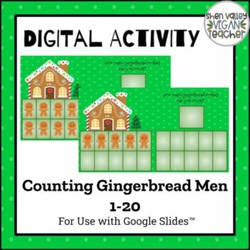 Google Classroom Counting Gingerbread Cookies 1-20 (Digital Resource)