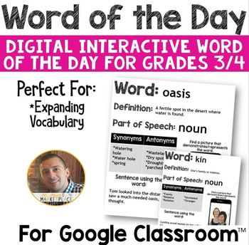 DIGITAL Word of the Day for Google Classroom: Grades 3/4