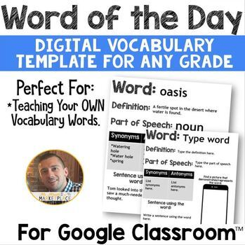 Google Classroom DIGITAL Word of the Day Template: ANY Grade Level