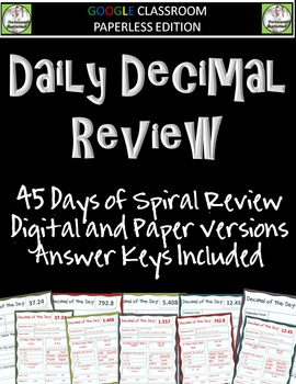 Google Classroom Decimal of the Day Spiral Review