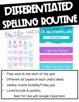 Google Classroom Differentiated Spelling & Word Study for the ENTIRE Year!