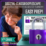 4th Grade Math Digital Escape Room Multiplying Fractions by Whole Numbers 4.NF.4