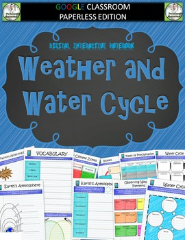 Google Classroom Weather and Water Cycle Digital Notebook