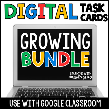 Google Classroom Digital Task Cards Math Growing Bundle - Fourth Grade