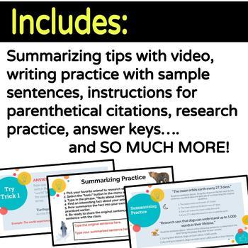 Google Classroom Digital Writing Activities-Summarizing