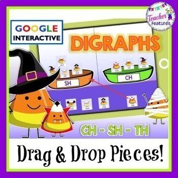 Google Classroom Halloween Sorts DIGRAPHS Candy Corn Theme