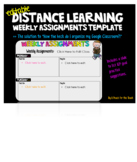Google Classroom Distance Learning Weekly Assignment Template