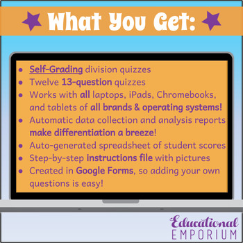 Google Classroom Division Facts Tests 0-12: Division Quiz Bundle - Exact - A