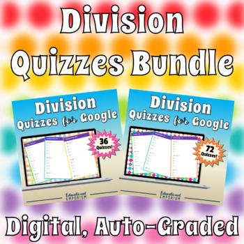 Google Classroom Division Facts Tests 0-12 MEGA Bundle: Combined ⭐108 Quizzes⭐