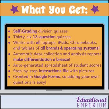 Google Classroom Division Facts Tests 0-12 MEGA Bundle: Division Exact