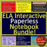 ELA Interactive Notebook Bundle of 6 - Paperless Activities for Google Classroom