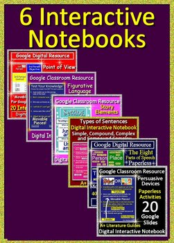 ELA Interactive Notebook Bundle of 6 - Paperless Activities for Google Classroom