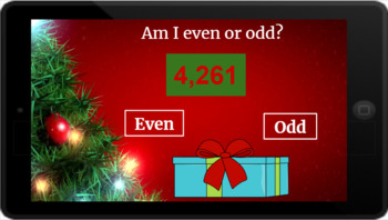 Google Classroom: Even or Odd 4 Digit Numbers- Christmas