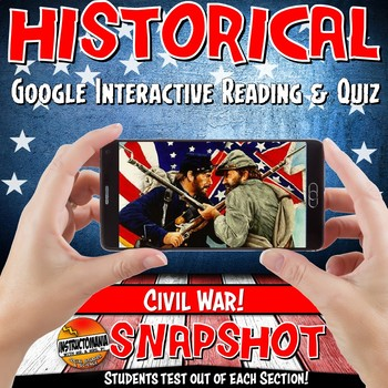 Google Classroom Events Leading to Civil War Snapshot Interactive Reading & Quiz