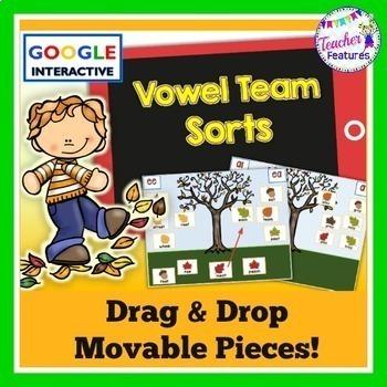 Google Classroom Vowel Teams Word Sort (Falling Leaves)