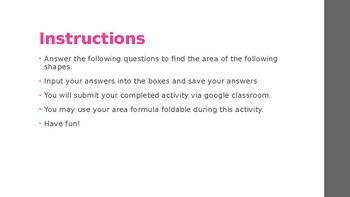 Google Classroom Finding Area Activity