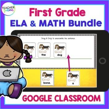 GOOGLE CLASSROOM ACTIVITIES First Grade Reading & Math DIGITAL TASK CARDS BUNDLE