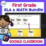 GOOGLE CLASSROOM ACTIVITIES 1st Grade Reading & Math Bundle & Digital Boom Cards