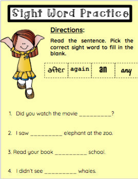 Google Classroom- First Grade Sight Word Practice