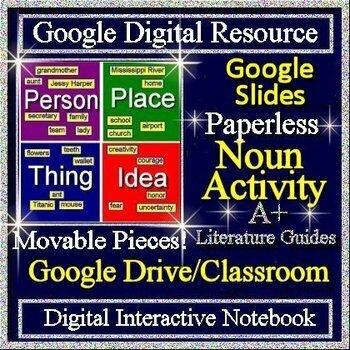 #TpTtech Google Classroom Grammar Interactive Notebook Paperless Activities