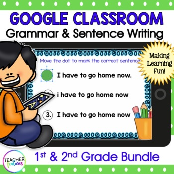 Google Classroom Writing   READING & SENTENCE WRITING   1st & 2nd Grade Bundle