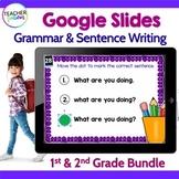 GOOGLE SLIDES GRAMMAR & SENTENCE WRITING 1st Grade & 2nd Grade BUNDLE