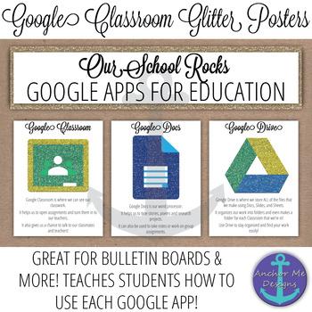 Google Classroom Glitter Posters- All Google Apps