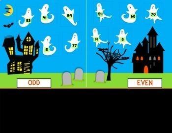 Google Classroom Halloween Math ODD & EVEN NUMBERS Ghosts