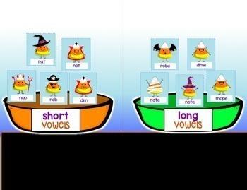 Google Classroom Halloween Sorts for CVC & CVCe CANDY CORN