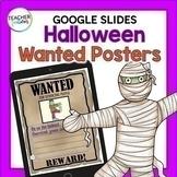 Google Classroom Halloween Writing Activities ADJECTIVES Wanted Posters