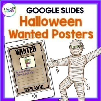 Google Classroom Halloween Writing: Adjective Wanted Posters