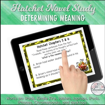 Google Classroom™ Hatchet Novel Study Self-Checking Digital Sample