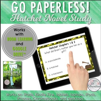 Google Classroom™ Hatchet Novel Study Self-Checking Digital Task Cards