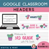Google Classroom Header | Customizable | Cactus Theme | Di