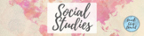 Google Classroom Header - Social Studies (Watercolor Map, Pink)