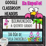 Google Classroom Headers Llama & Shiplap Theme En Español
