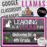 Back to School Google Classroom Headers Chalkboard Llama T