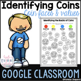 Google Classroom Identifying Coins & Values Coloring Page