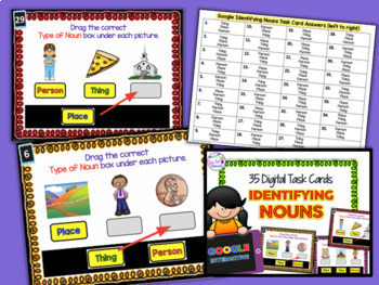 Digital Task Cards for Google Classroom: Noun Sort