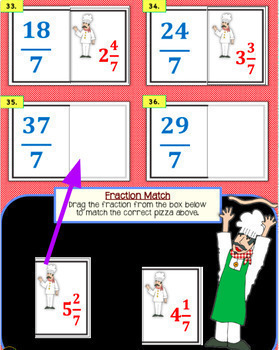 Digital Task Cards for Google Classroom Improper Fractions & Mixed Numbers