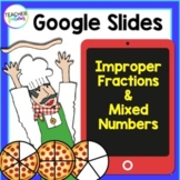 Google Classroom Math DIGITAL TASK CARDS Improper Fractions & Mixed Numbers