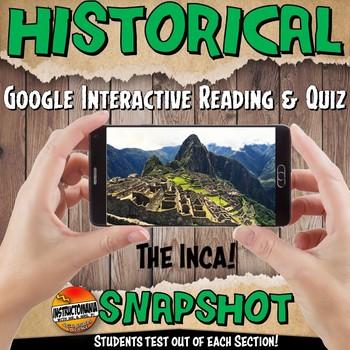 Google Classroom Inca Historical Snapshot Interactive Reading Activities & Quiz