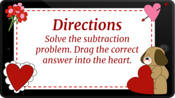 Google Classroom: Interactive 1 Digit Subtraction Activity- Valentines