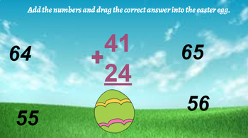 Google Classroom- Interactive 2 Digit Addition No Regrouping- Easter