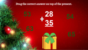 Google Classroom- Interactive 2 Digit Addition Regrouping - Christmas Theme