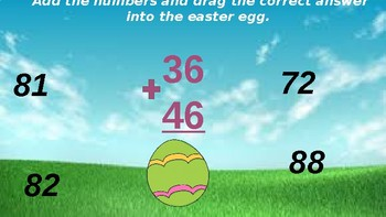 Google Classroom: Interactive 2 Digit Addition Regrouping- Easter