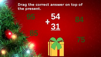 Google Classroom: Interactive 2 Digit No Regrouping Addition - Christmas Theme